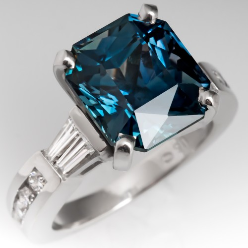 Blue-Green Sapphire Engagement Ring in Platinum