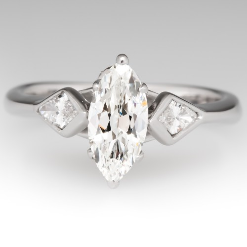 1 Carat Marquise Diamond Engagement Ring 14K White Gold
