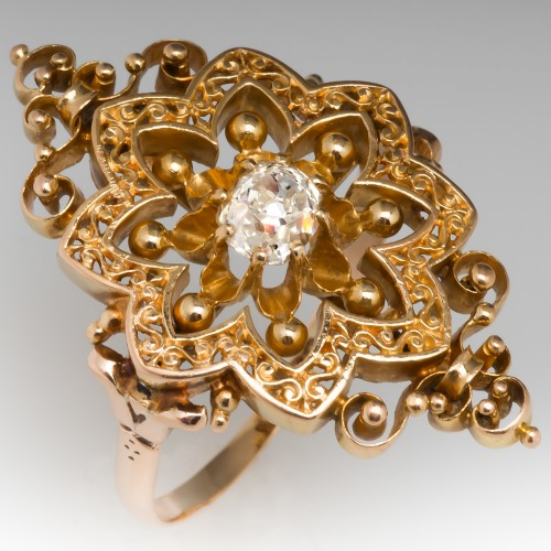 Victorian North South Old Mine Diamond Ring Openwork