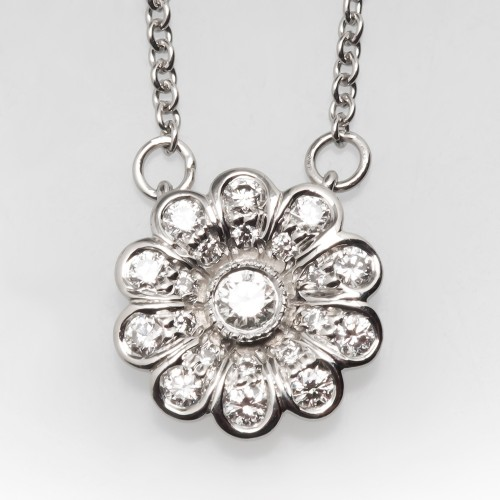 Tiffany & Co Flower Diamond Pendant Necklace Platinum