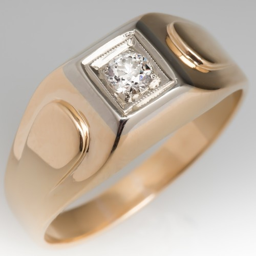 Antique Mens Diamond Wedding Band Ring 14K Gold