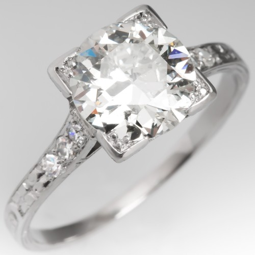 Engraved Art Deco Engagement Ring 2 Carat Transitional Cut Diamond