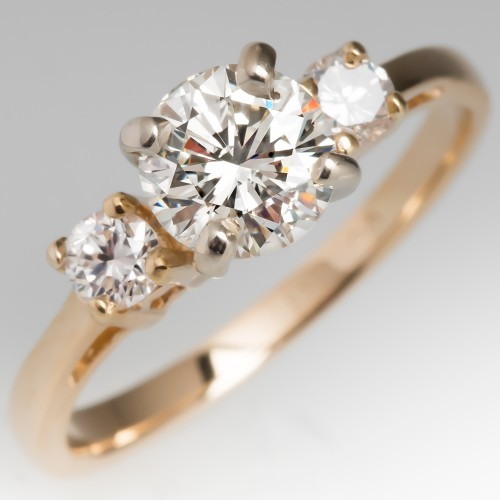 14K Yellow Gold Three Stone Diamond Engagement Ring 1CT I/SI1