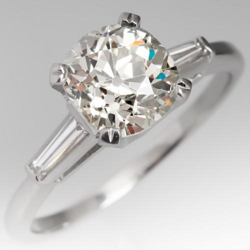 Heirloom Old Mine Cut Diamond Engagement Ring Vintage Platinum Mounting