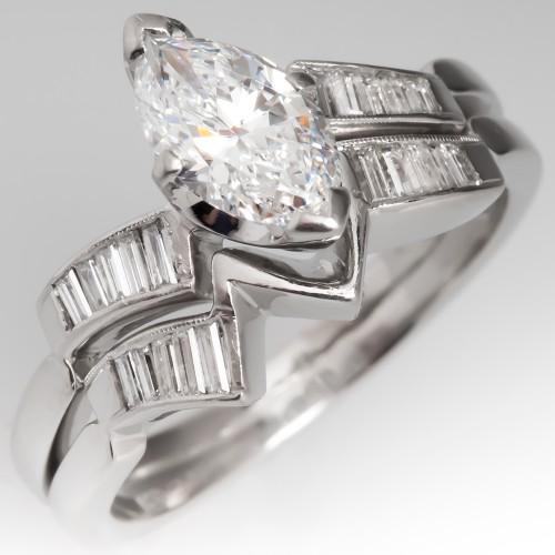 Vintage Marquise Diamond Engagement Ring Wedding Set 1CT D/VVS2