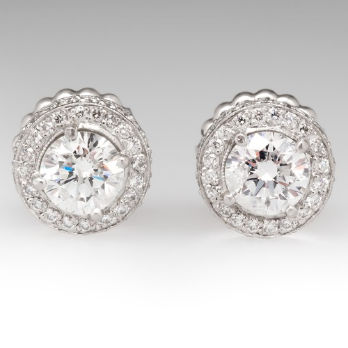 Beautiful Diamond Stud Halo Earrings Platinum