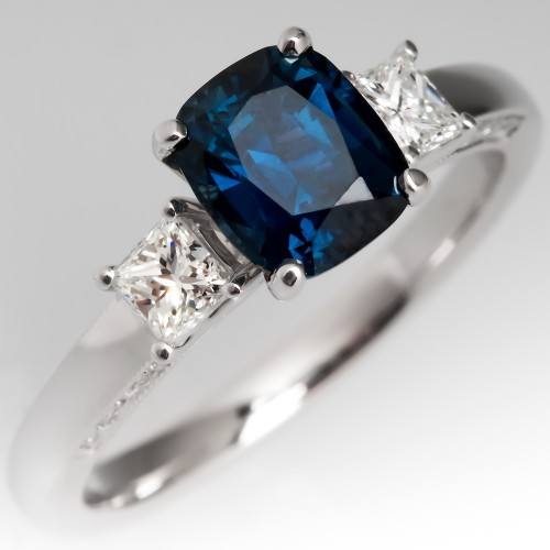 Rich Teal Sapphire & Diamond Three Stone Engagement Ring 18K