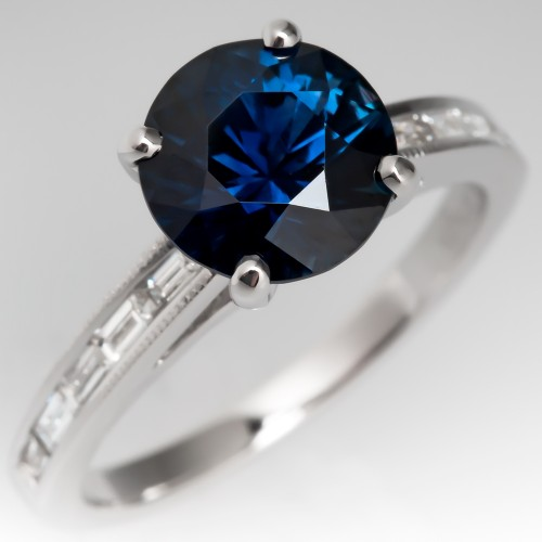 Deep Rich Peacock Sapphire Engagement Ring Natalie K Diamond Mount 14K