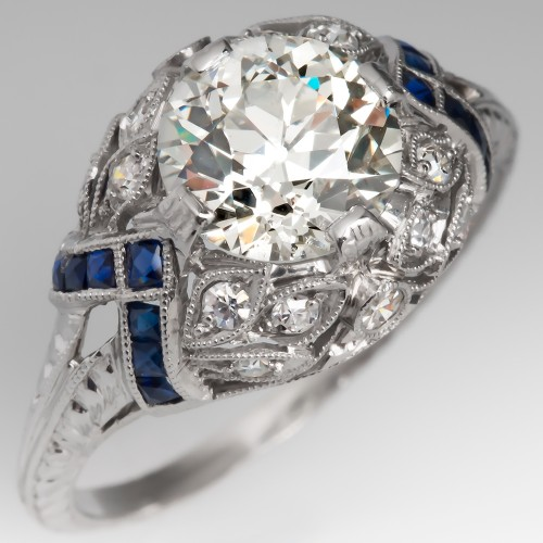 Art Deco Engagement Ring Old Cut Diamond w/ Colored Accents
