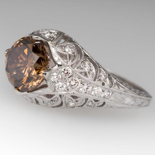 GIA Fancy Brown Diamond Engagement Ring Ornate Filigree 18K