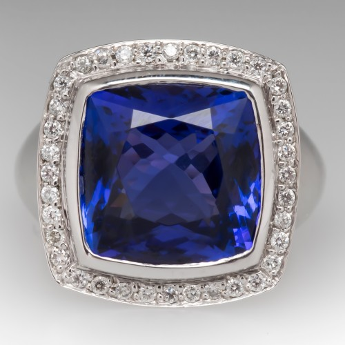 Vivid Cushion Cut Tanzanite Cocktail Ring w/ Diamonds 18K