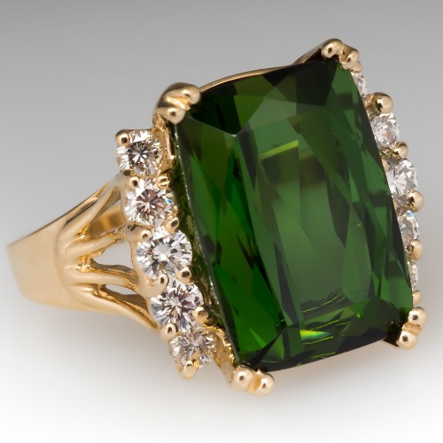 Vibrant Green Tourmaline Cocktail Ring w/ Diamond Accents 14K