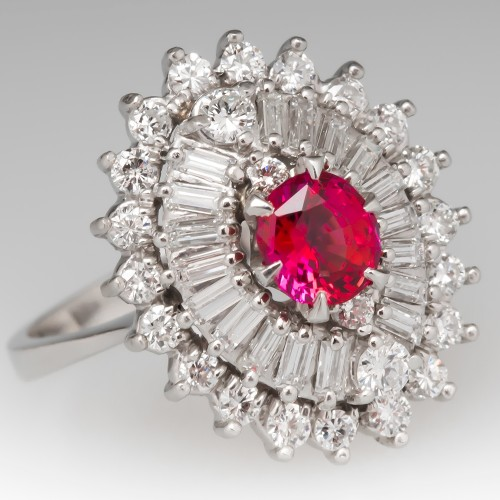 No Heat Orangey Red Ruby & Diamond Ballerina Cocktail Ring Platinum