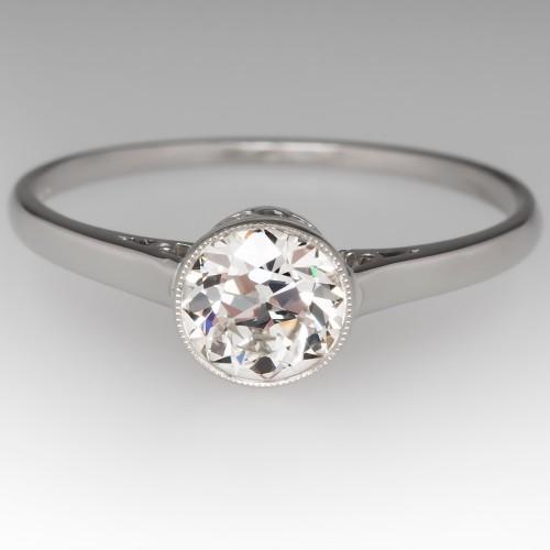 Old European Cut Diamond Bezel Solitaire Engagement Ring Platinum