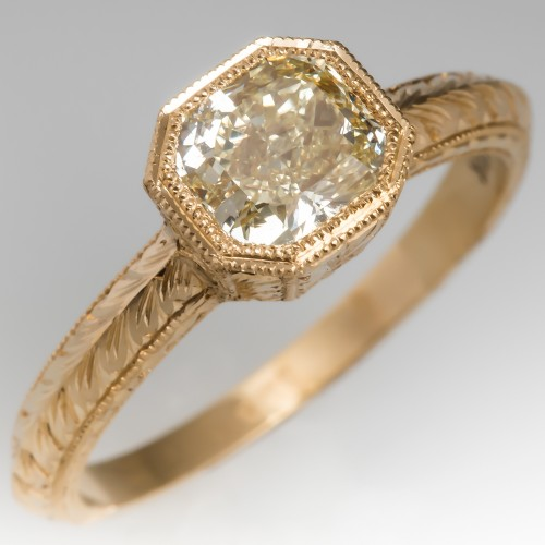 GIA Fancy Yellow Bezel Set Diamond Band Ring 18K Yellow Gold