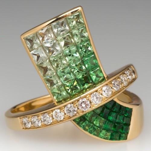 Tsavorite Garnet & Diamond Invisible Set Cocktail Ring 14k Gold