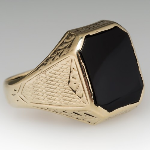 Antique Mens Onyx Ring 14K Gold