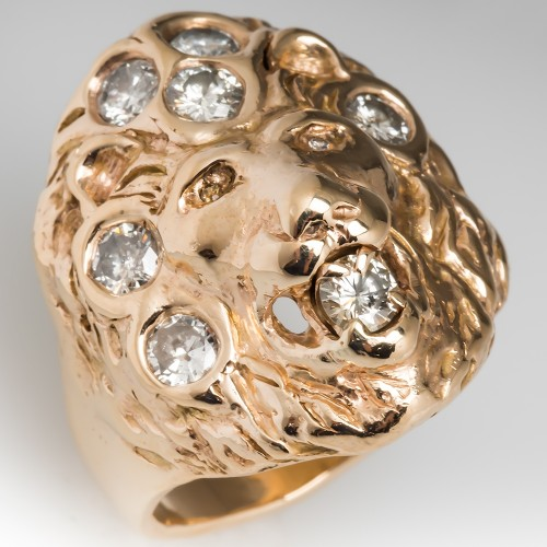 Vintage Custom Mens Lion Motif Diamond Ring 14K Gold