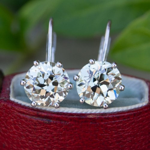 3 Total Carat Old European Cut Diamond Drop Earrings