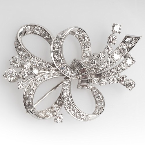 Beautiful 1950's Vintage Diamond Brooch Pin Platinum