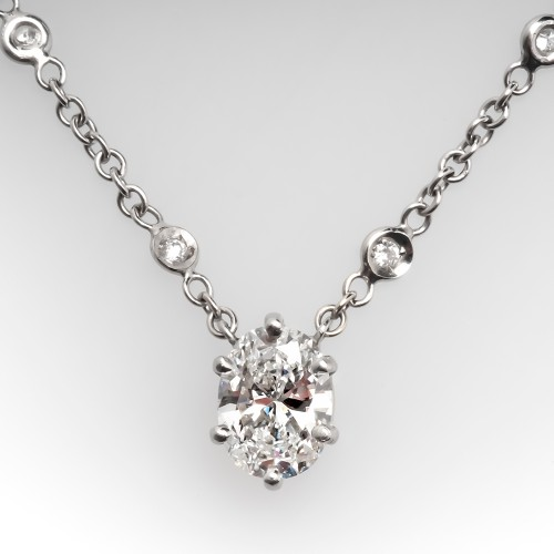 Diamond Station Necklace w/ Oval Cut Diamond Center 18K White Gold