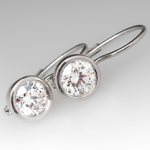 Stunning Bezel Diamond Dangle Earrings E VS1-2 AGS GIA
