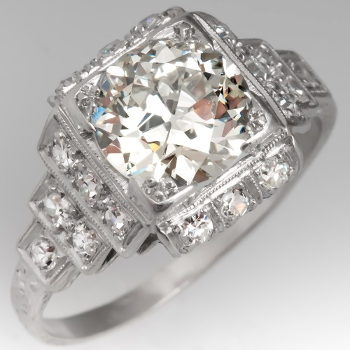 1930's Art Deco Diamond Engagement Ring Antique Platinum