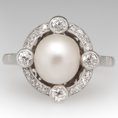 GIA Natural Pearl Victorian Ring w/ Old Euro Diamonds in Platinum