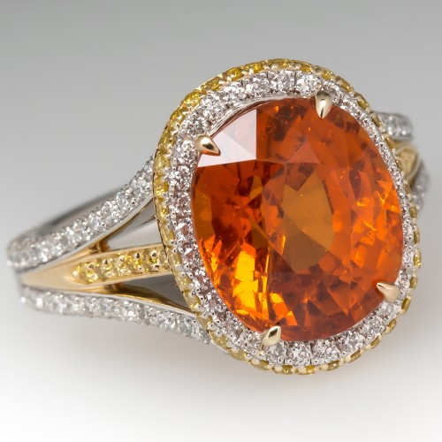 Orange Spessartine Garnet & Diamond Cocktail Ring Platinum & 18K