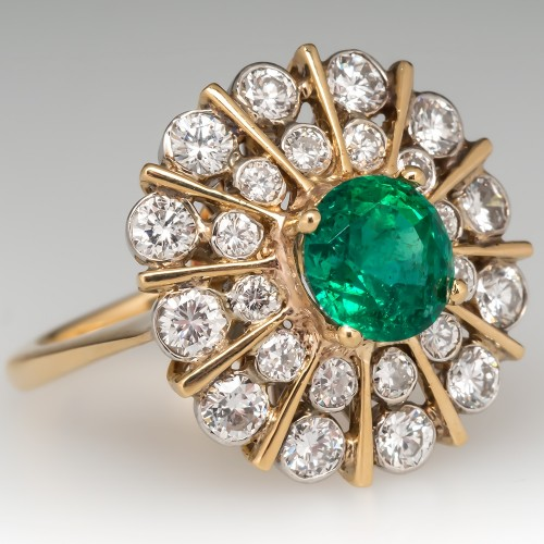 Vintage Emerald Cocktail Ring w/ Diamond Starburst 18K