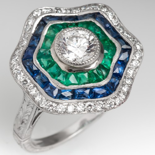 Filigree Halo Cocktail Ring Diamonds Emeralds Sapphires 18K