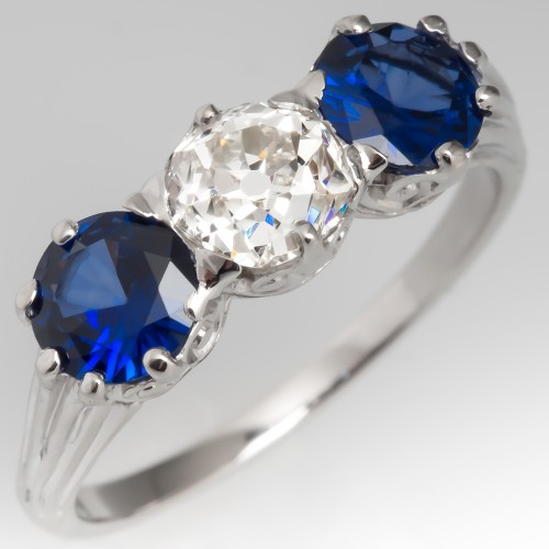 Old Mine Cut Diamond & Blue Sapphire Three Stone Ring Platinum