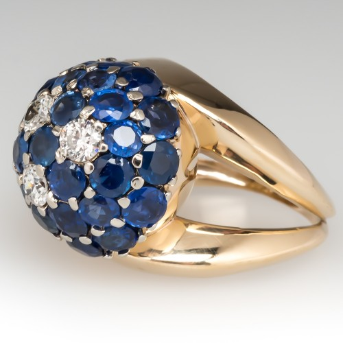 Vintage Dome Cocktail Ring Blue Sapphires & Diamonds 14K Gold