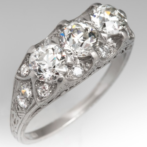 1930's Art Deco Filigree Diamond Ring Three Stone Platinum Engraved