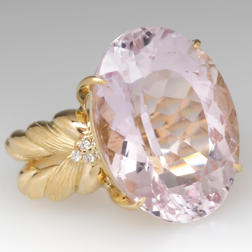 Large 20 Carat Pink Kunzite Cocktail Ring 18K Yellow Gold