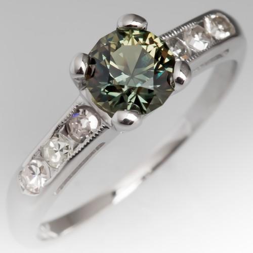 Vibrant Green Sapphire Engagement Ring 18K White Gold