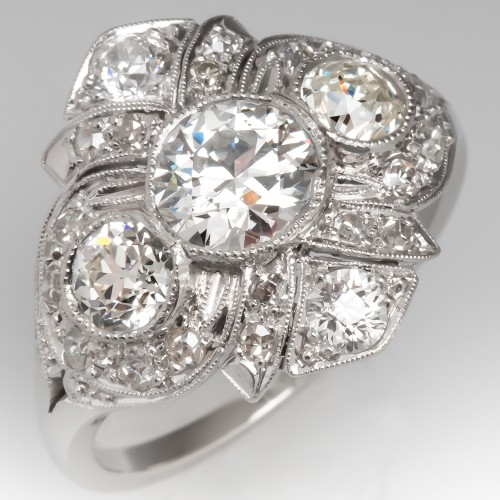 Art Deco Bezel Set Transitional Cut Diamond Ring Platinum