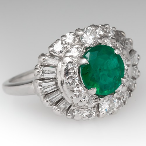Vintage 1950's Emerald & Diamond Cocktail Ring Platinum