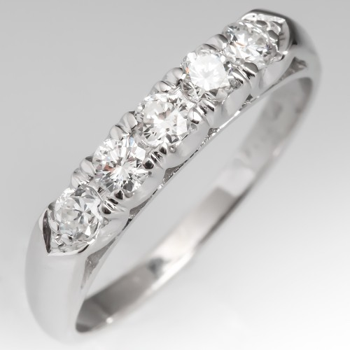1950's Vintage Diamond Wedding Band Ring 14K White Gold