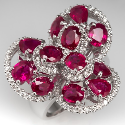 Flower Motif Red Ruby & Diamond Cocktail Ring 14K White Gold