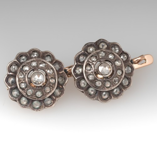 Old Russian Rose Cut Diamond Earrings 14K Gold & Silver