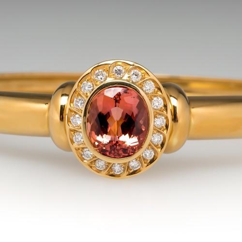 Imperial Topaz & Diamond Bangle Bracelet 18K Yellow Gold