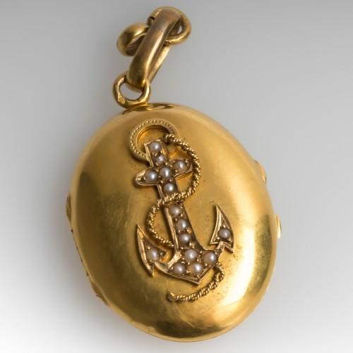 Victorian Anchor Locket Set w/ Seed Pearls 18K Gold