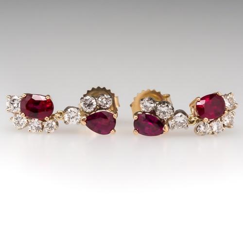 Beautiful Natural Ruby & Diamond Dangle Earrings 14K Gold
