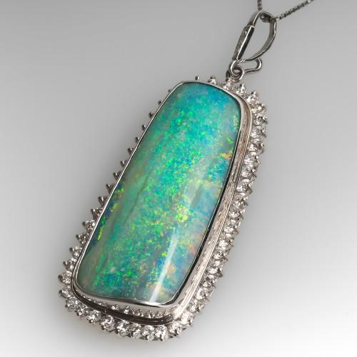 Natural Freeform Boulder Opal & Diamond Pendant Necklace Platinum