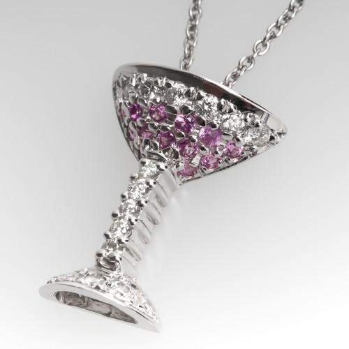 Roberto Coin Tiny Treasures Martini Pink Sapphire Diamond Necklace