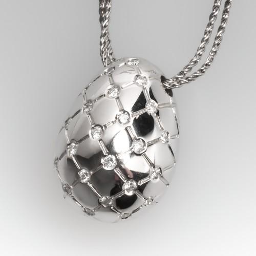 Giorgio Visconti Diamond Slide Pendant Necklace 18K White Gold