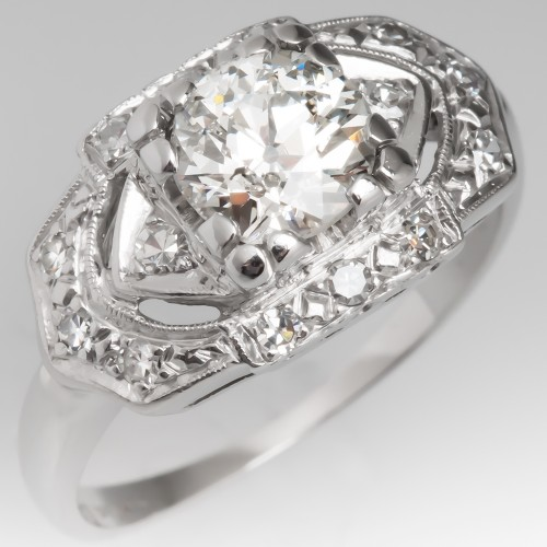 Art Deco Engagement Ring 1 Carat Old Euro Diamond Platinum