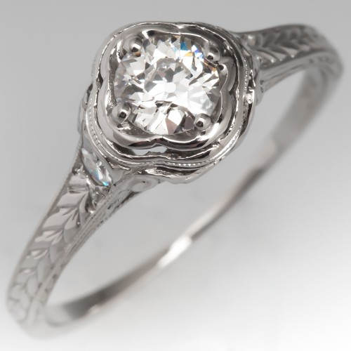 1930's Antique Platinum Filigree Diamond Engagement Ring