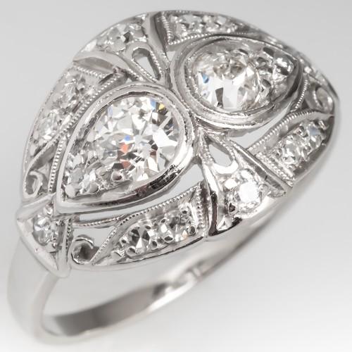1920's Toi Et Moi Twin Diamond Ring Platinum